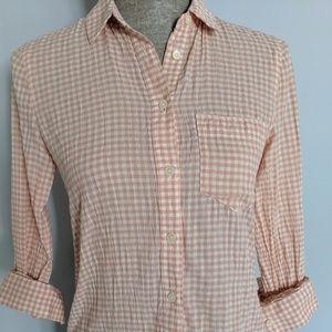 Madewell- Pink gingham button up shirt